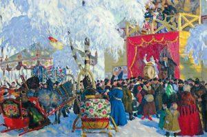 """Фрагмент картины Б. Кустодиева """"Балаганы"""", 1917 г."""