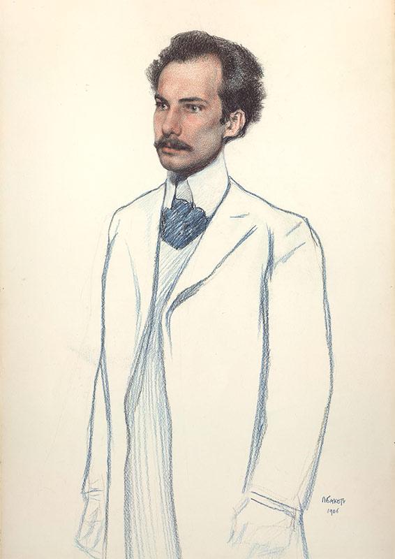 Портрет Андрея Белого. Худ. Л. Бакст. 1906 г.