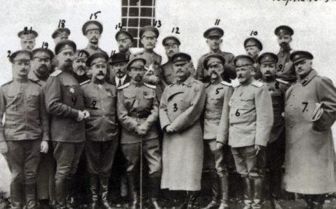 Корниловцы — узники Быховской тюрьмы. Фото 1917 г.