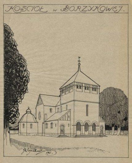 Церковь в Божикове. Рисунок. 1911 г. Национальный музей в Варшаве.