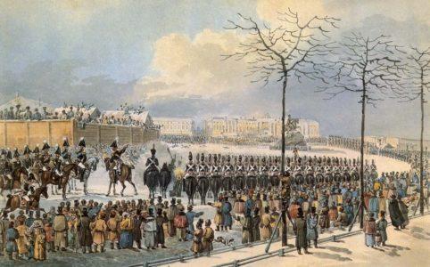 Санкт-Петербург. Сенатская площадь 14 декабря 1825 года. Рис. худ. Карла Кольмана