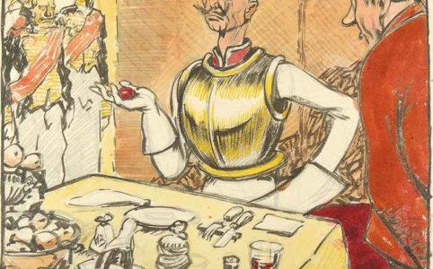 Кайзер Вильгельм с пасхальным яйцом. Карикатура худ. Ивана Малютина. 1915 г.