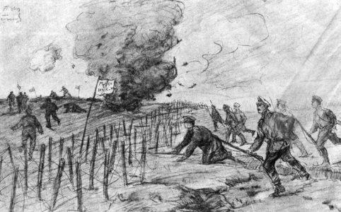Наши стрелки бросаются за убегающими германцам-братальщиками. Рис. А. В. Мартынова. Май 1917 г.