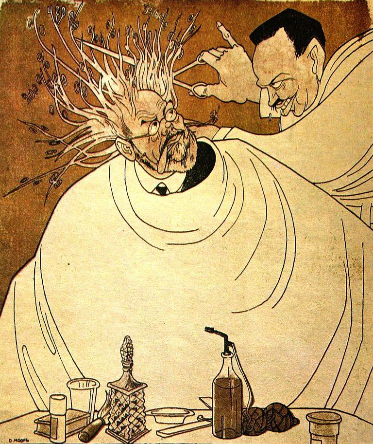 """Карикатура """"Стрижка процентов"""". Клиент - миллионер П. П. Рябушинский, парикмахер - Коновалов. Худ. Д. Моор. 1917"""