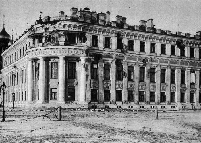 Николаевский дворец после октябрьских событий. 1917 г.