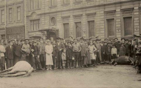 Прохожие на Литейном проспекте, столпившиеся возле убитых казацких лошадей. 16 (3) июля 1917 г. ГАРФ