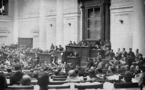 Делегаты I Всероссийского съезда Советов рабочих и солдатских депутатов в зале Таврического дворца. Июнь 1917 г.