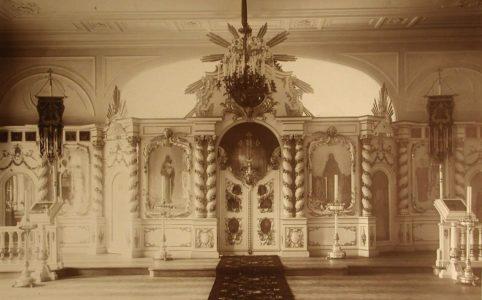 Внутренний вид церкви Пресвятой Троицы в Гатчинском реальном училище. Фото 1911 г.