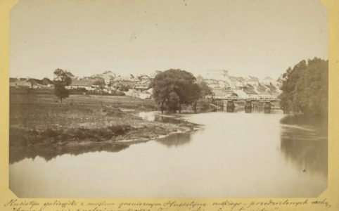 Панорама Гусятина галицийского с мостом на реке Збруч. Фото М. Грейма. 1872-1875 гг.
